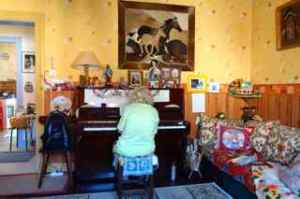 She warmed up by playing the piano for us.