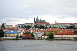 Prague skyline with Castle in background.