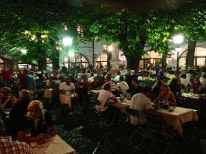 Beer garden inside the 3 story Hofbrau Hause