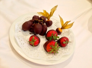 This was sent to our room b/c our Air Conditioning was making a terrible noise. Grapes, cherries and strawberries. YUM!