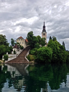 Pilgrimige church on the only natural island in Slovenia. There are 99 steps to ring the church bell.