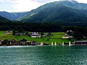 View of the homes on the lake while boating to St. Gilgen from St. Wolfgang. Not much development here.