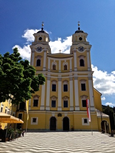 The front facade of the church in Mondsee used for the wedding