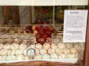"These snowballs are Rothenburg's signature cookie. At first sight it reminded us of SNL's ""Schwetty Balls"" LOL!"