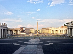 St. Peter's Basilica as the sun goes down.