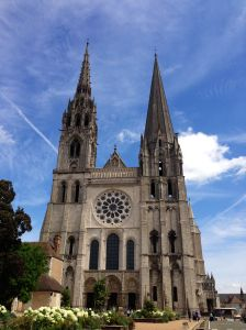 Cathedral of Chartres, from 1193, known for the best stain glass windows. We had Mass here on Sunday.