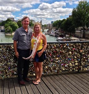 Here we are on the Pont des Arts (the LOVE BRIDGE)