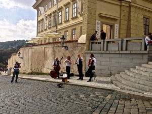 These guys were playing beautiful music for everyone in front of the Palace entrance.