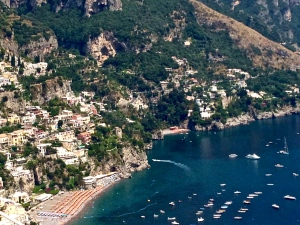 Here is a view of Positano. We stopped along the curvy mountain road, jumped out, took the pic and got back in, just in time.