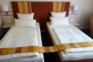 "This is a typical ""double"" in Europe... Next time we'll ask for a KING bed... for sure...LOL"