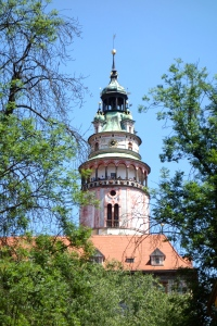 Close up of church dome in Cesky Krumlov