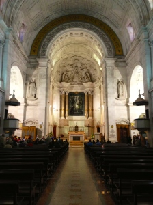 "The inside of the Sanctuary. on each side of the alter there are tombs for Jacinta and Francisco, cousins of Lucia who saw the ""lady of the rosary"" on May 13, 1917."
