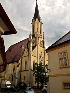 Small church in Melk, mass was going on here when we arrived.