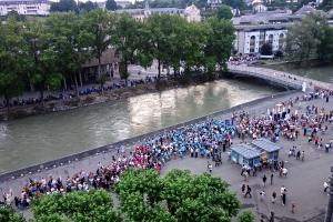 This is the line of people on the other side of the river bank waiting to get in line