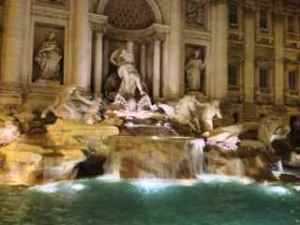 Beautiful Trevi Fountain at night