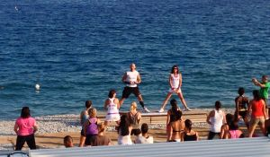 They do their exercising on the beach, mind you the beach is all rocks here.