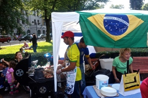 These are the people that were selling food for the day from all the different countries.