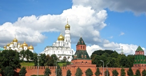 View of the Kremiln and the cathedrals from across the Moscow river