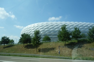 The Allianz FOOTBALL (Soccer) arena in Munich, ( the dome changes colors, red, blue) had playoffs for World Cups while we were here.