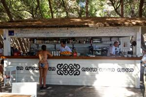 This is the bar that serves drinks only at the beach, the vendor behind this serves sandwiches, the vendor behind that serves french fries, and the vendor behind the french fry guy serves ice cream. But you can bring all your food here to eat under the shade trees and order drinks!