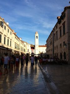 Stradun - pedestrian main street in Old City. Notice all the green shutters? They all MUST match and use the same shade of green.