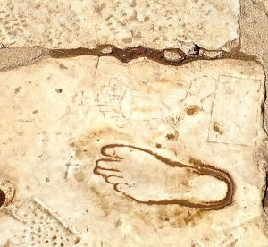 This foot is on Marble Street and tells the story to the men... Enjoy our city, and this is the way to the Brothels! If you don't know what are in the brothels, then go to the Library!