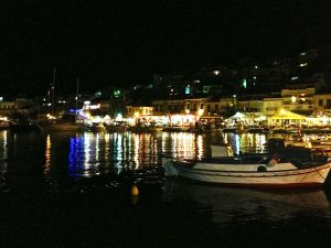 Pythagoria harbor at night