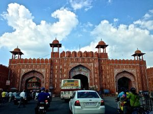 "Entrance Gate to the ""Pink City""."