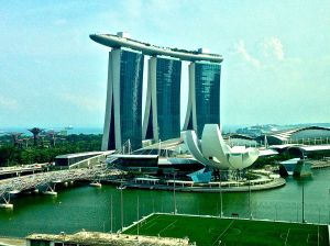 What a view from our room! This is Marina Bay Sands. Ku De Ta restaurant is on the top of this.