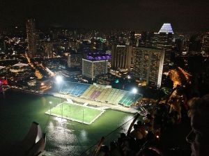 This soccer field is suspended above the water. Guess you lose your ball if you kick it to far!