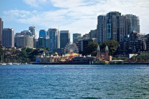 Skyline of Sydney across the harbor.