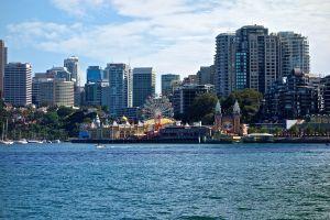 Skyline of Sydney across the harbor.