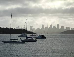 View of Sydney from our ferry trip.