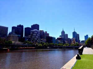 Our first sight of the south bank in Melbourne.