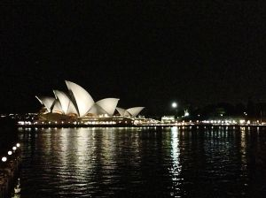 NIght view of the opera house from our hotel room.