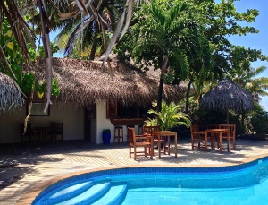 Our pool and house bar in Aitutaki! The bar was on the honor system. You just write it down whenever you help yourself to anything!
