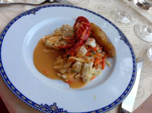 Whitefish dinner topped with crayfish! AMAZING!!!