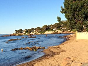 A rare sand beach on the French Riviera at St. Raphael.