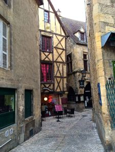 A timbered building in the old town of Sarlat.