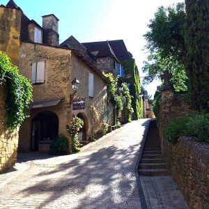 A quaint street scene in Sarlat.