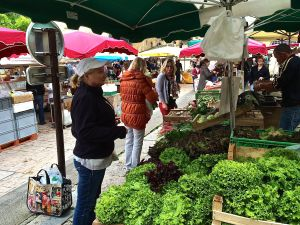 This is Rita in Sarlat buying produce in the market for the first day in our house. She used a lot of pointing.