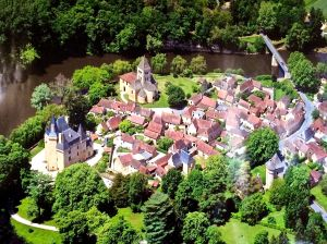 Aerial view of St. Leon-sur-Vezere with our next door neighbor's Castle and our landlord's Castle.