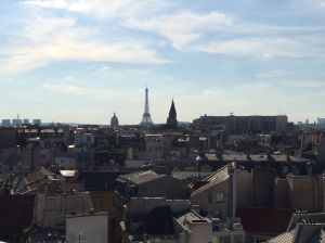 Paris Skyline including Eiffel Tower from the rooftop restaurant of the Holiday Inn St. Germain de Pres.