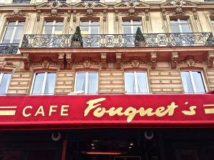 Cafe Fouquet's... as we are walking inside for a special drink!