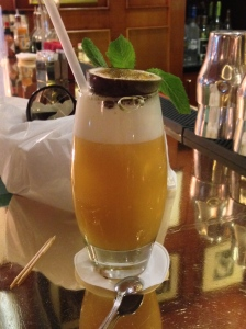 Of course, we usually drink Cosmo's (where we can get them) but Mary chose this one, that is passion fruit on the top!