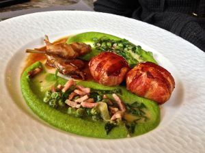 Quail with pea puree! Tasty!