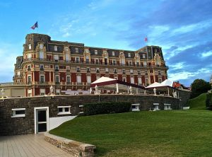 Hotel de Palais built by Napoleon for his wife Eugenie. Now a very expensive hotel on the beach at Biarritz.