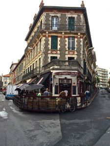 Outdoor cafe/restaurant in Biarritz in the market area.