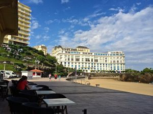 Biarritz casino from outdoor cafe on La Grande Plage.