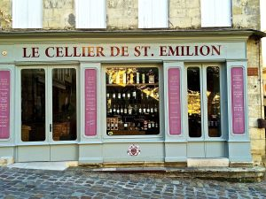 Cute store front of one of many wine merchants in St. Emilion willing to trade wine for your money.